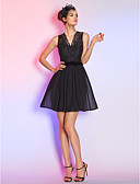 cheap Cocktail Dresses-A-Line / Fit & Flare V Neck Short / Mini Chiffon / Lace Little Black Dress Cocktail Party Dress with Bow(s) by TS Couture®