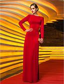 preiswerte Abendkleider-Eng anliegend Schmuck Boden-Länge Jersey Promi-Stil / Vintage Inspirationen Formeller Abend Kleid mit Plissee durch TS Couture®