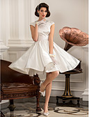 cheap Wedding Dresses-A-Line / Princess Jewel Neck Knee Length Satin Made-To-Measure Wedding Dresses with Beading by LAN TING BRIDE® / Little White Dress