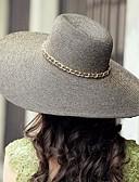 povoljno Stole za vjenčanje-Izvoze Rafija Slama Dame otvorenom / Casual / Plaža kape sa zlatnim lancem