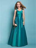 cheap Junior Bridesmaid Dresses-A-Line / Princess Straps Floor Length Taffeta Junior Bridesmaid Dress with Sash / Ribbon / Criss Cross / Ruched by LAN TING BRIDE® / Spring / Summer / Fall / Apple / Hourglass