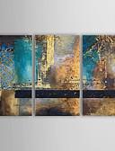 billige Cocktailkjoler-Håndmalte Abstrakt Vannrett Lerret Hang malte oljemaleri Hjem Dekor Tre Paneler