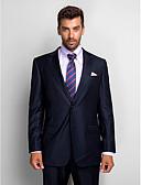 preiswerte Anzüge-Streifen Reguläre Passform Wolle Polyester Anzug - Fallendes Revers Einreiher - 2 Knöpfe