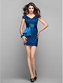 preiswerte Abendkleider-Eng anliegend V-Ausschnitt Kurz / Mini Spitze Cocktailparty / Abiball Kleid mit Seitlich drapiert durch TS Couture®