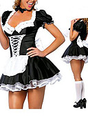 cheap Panties-Maid Costume / Career Costumes Cosplay Costume / Party Costume Women's Halloween / Carnival Festival / Holiday Halloween Costumes Black / White Patchwork Maid Uniforms