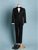 cheap Bikinis-Ivory / Black Polyester Ring Bearer Suit - Five-piece Suit Includes  Jacket / Waist cummerbund / Shirt