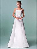 preiswerte Hochzeitskleider-A-Linie Riemen Boden-Länge Satin Maßgeschneiderte Brautkleider mit Schärpe / Band durch LAN TING BRIDE®
