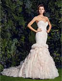 cheap Wedding Dresses-Mermaid / Trumpet Sweetheart Neckline Court Train Tulle / Corded Lace Made-To-Measure Wedding Dresses with Sequin / Appliques / Cascading Ruffles by LAN TING BRIDE® / Wedding Dress in Color