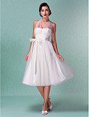 cheap Wedding Dresses-A-Line Halter Neck Knee Length Satin / Tulle Made-To-Measure Wedding Dresses with Bowknot / Sash / Ribbon by LAN TING BRIDE®