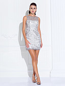 cheap Prom Dresses-A-Line / Princess Illusion Neck Short / Mini Stretch Satin Cocktail Party / Prom Dress with by TS Couture®