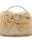 cheap Bridesmaid Dresses-Women's Bags Silk Evening Bag Flower Burgundy / Champagne / Ivory