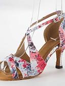 זול שמלות מודפסות-בגדי ריקוד נשים נעליים לטיניות סטן סנדלים עקב סטילטו ללא התאמה אישית נעלי ריקוד ורוד / עור
