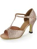 Χαμηλού Κόστους Ρούχα χορού της κοιλιάς-Γυναικεία Παπούτσια χορού λάτιν Λαμπυρίζον Γκλίτερ Πέδιλα Τακούνι Στιλέτο Μη Εξατομικευμένο Παπούτσια Χορού Χρυσό / Δέρμα