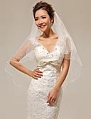 baratos Véus de Noiva-Duas Camadas Corte Pérola Véus de Noiva Véu Cotovelo Com 53,15 in (135cm) Cetim Tule