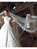 رخيصةأون طرحات الزفاف-One-tier Lace Applique Edge الحجاب الزفاف Cathedral Veils مع 118،11 في (300cm) دانتيل / أورجنزا