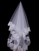 cheap Wedding Veils-One-tier Lace Applique Edge Wedding Veil Fingertip Veils Headpieces with Veil 53 59.06 in (150cm) Lace Tulle