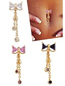 cheap Bras-Cubic Zirconia Navel Ring / Belly Piercing - Stainless Steel, Zircon, Cubic Zirconia Bowknot Luxury, Unique Design, Fashion Women's White / Purple / Pink Body Jewelry For Daily / Casual
