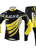 cheap Mother of the Bride Dresses-FJQXZ Men's Long Sleeves Cycling Jersey with Tights - Yellow Bike Tights Jersey Clothing Suits, Quick Dry, Ultraviolet Resistant,