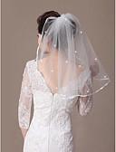 abordables Vestidos de Novia-1 capa Con lazo Con abalorios Velos de Boda Hasta el hombro Con Cristales dispersos Corbata de Lazo 21.65 en (55 cm) Tul