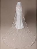 """זול הינומות חתונה-הינומות חתונה שתי שכבות צעיפי מרפק צעיפי קתדרלה קצה עפרון קצה חרוזים 118.11 אינץ' (300 ס""""מ) טול"""