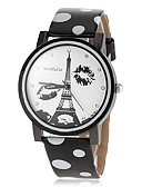 preiswerte Modische Uhren-Damen Armbanduhr Schlussverkauf PU Band Eiffelturm / Modisch / Kleideruhr Schwarz / Weiß / Blau / Ein Jahr / SSUO 377