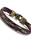 cheap Men's Shirts-Men's Wrap Bracelet / Leather Bracelet - Leather, Titanium Steel Personalized, Vintage, Hip-Hop Bracelet Silver / Bronze For Daily / Casual / Sports