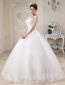 olcso Menyasszonyi ruhák-Báli ruha Szív-alakú Földig érő Tüll Made-to-measure esküvői ruhák val vel Gyöngydíszítés / Rátétek által