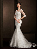 preiswerte Hochzeitskleider-Trompete / Meerjungfrau U-Ausschnitt Hof Schleppe Spitze Maßgeschneiderte Brautkleider mit Applikationen durch LAN TING BRIDE®