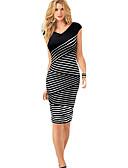 cheap Women's Dresses-Women's Work Street chic Sheath Dress - Striped V Neck