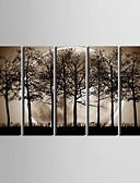 cheap Women's T-shirts-E-HOME® Stretched Canvas Art The Night Under The Shadows of The Trees Decoration Painting  Set of  5