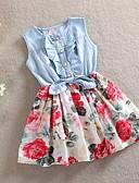 お買い得  女児 ドレス-子供 女の子 甘い 日常 / 祝日 フラワー リボン ノースリーブ コットン ドレス レッド