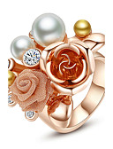 halpa Muotialusvaatteet-Naisten Statement Ring - Helmi, Gold Plated, Metalliseos Flower Muoti, Suuri Yksi koko Käyttötarkoitus Party