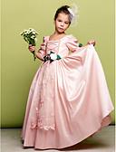 billige Blomsterpikekjoler-A-linje / Prinsesse Gulvlang Blomsterpikekjole - Taft 3/4 ermer Firkantet hals med Blonder / Blomst av LAN TING BRIDE®