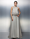 cheap Prom Dresses-A-Line Jewel Neck Floor Length Chiffon Prom / Formal Evening Dress with Beading / Ruched by TS Couture®