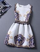 זול שמלות נשים-גיזרה גבוהה עד הברך פרחוני - שמלה גזרת A כותנה חוף חגים בגדי ריקוד נשים