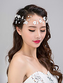 cheap Wedding Dresses-Chiffon Imitation Pearl Lace Headbands Flowers Head Chain Wreaths 1 Wedding Special Occasion Casual Outdoor Headpiece