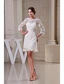 preiswerte Hochzeitskleider-A-Linie Schmuck Knie-Länge Spitze mit Blumenmuster überall Maßgeschneiderte Brautkleider mit Spitze durch LAN TING BRIDE® / Durchsichtig