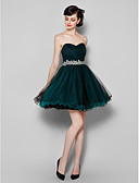 cheap Cocktail Dresses-A-Line Sweetheart Neckline Knee Length Tulle Cocktail Party / Prom Dress with Side Draping by TS Couture®