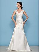 preiswerte Hochzeitskleider-A-Linie V-Ausschnitt Pinsel Schleppe Satin Maßgeschneiderte Brautkleider mit Überkreuzte Rüschen / Seiten-drapiert durch LAN TING BRIDE®