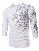 billige Herreskjorter-Rund hals Tynd Herre - Geometrisk Trykt mønster Boheme Sport / Arbejde Plusstørrelser T-shirt Hvid XL / Langærmet
