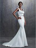 baratos Vestidos de Casamento-Sereia Decote Quadrado Cauda Corte Cetim Vestidos de casamento feitos à medida com Miçangas / Faixa / Fita de LAN TING BRIDE®