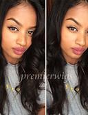 povoljno Večernje haljine-Ljudska kosa Full Lace Perika Prirodne kovrče Perika 130% Prirodna linija za kosu / Afro-američka perika / 100% rađeno rukom Žene Kratko / Medium / Dug Perike s ljudskom kosom