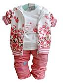 tanie Kurtki i płaszcze dla dziewczynek-Brzdąc Dla dziewczynek Kwiaty Długi rękaw Regularny Regularny Komplet odzieży Różowy