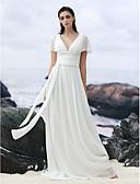 baratos Vestidos de Casamento-Linha A Decote V Cauda Corte Georgette Vestidos de casamento feitos à medida com Miçangas / Apliques / Faixa / Fita de LAN TING BRIDE®