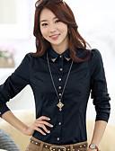 billige Skjorter til damer-Bomull Skjortekrage Store størrelser Skjorte Dame - Ensfarget, Perler