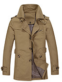 cheap Men's Jackets & Coats-Solid Color Plus Size Men's Clothing Loose Autumn Medium-long Trench Male Outerwear