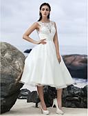 olcso Menyasszonyi ruhák-A-vonalú Bateau nyak Térdig érő Organza Made-to-measure esküvői ruhák val vel Csipke rész által LAN TING BRIDE® / Kis fehér szoknyák