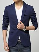 billiga Herrblazers och kostymer-Herr Dagligen / Arbete Plusstorlekar Normal Blazer, Enfärgad Långärmad Bomull / Polyester Svart / Mörkblå / Ljusblå XXXL / 4XL / XXXXXL / Affärsformell / Smal