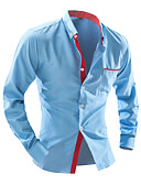 זול חולצות לגברים-מנוקד סגנון רחוב עבודה כותנה, חולצה - בגדי ריקוד גברים / שרוול ארוך