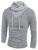 お買い得  メンズ トップス-男性用 長袖 フード付き プルオーバー - カラーブロック フード付き